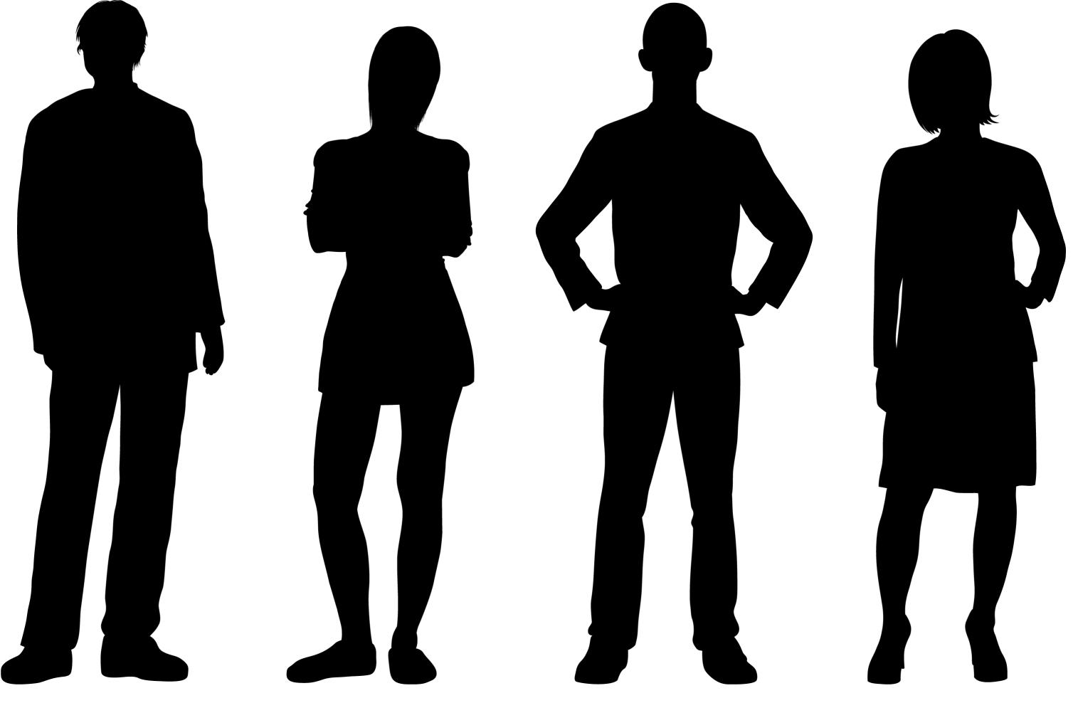 Silhouetted People Standing in a Line