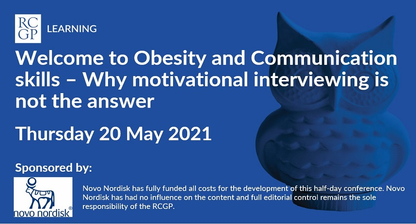 Image showing title of webinar: obesity and communication skills