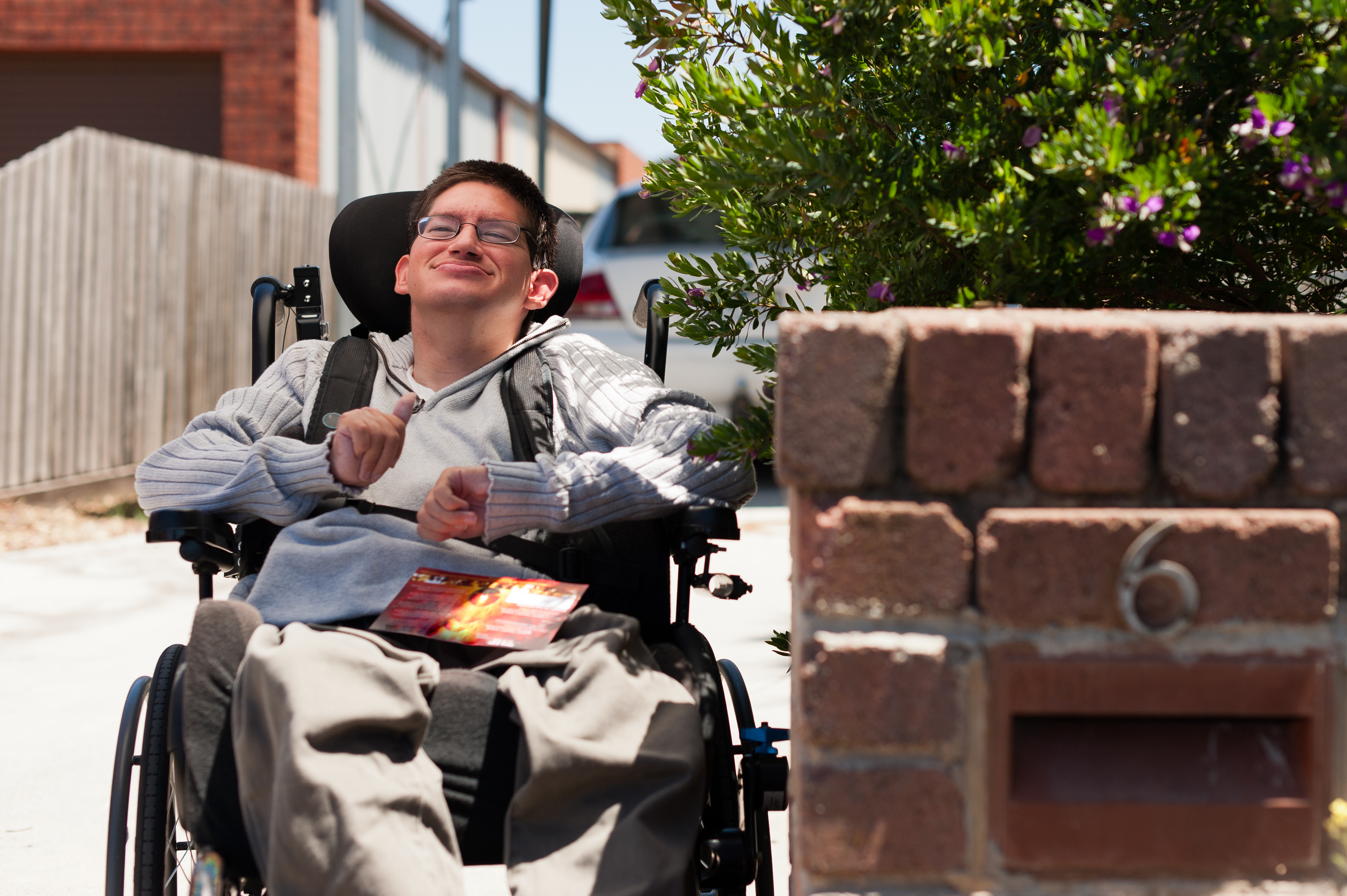 Young male in wheelchair