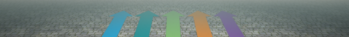 5 coloured arrows on an old fashioned set cobbled road, denoting the 5 pathways