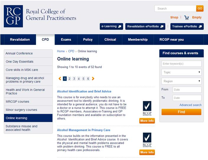 Online learning section of RCGP website screenshot