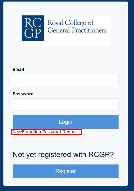 Forgotten password screenshot
