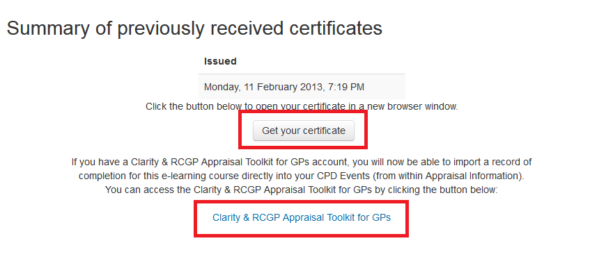 How I get my certificate screenshot